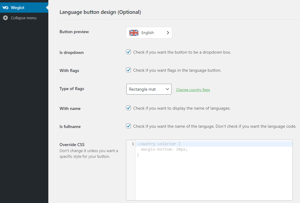 The Weglot language button design options.