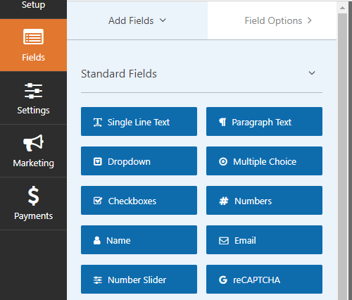 Field options in WPForms.