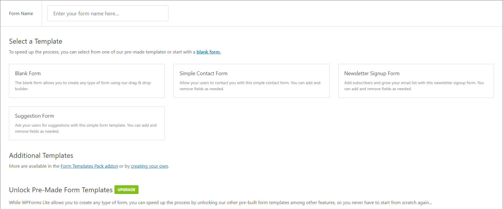 Form templates in WPForms.