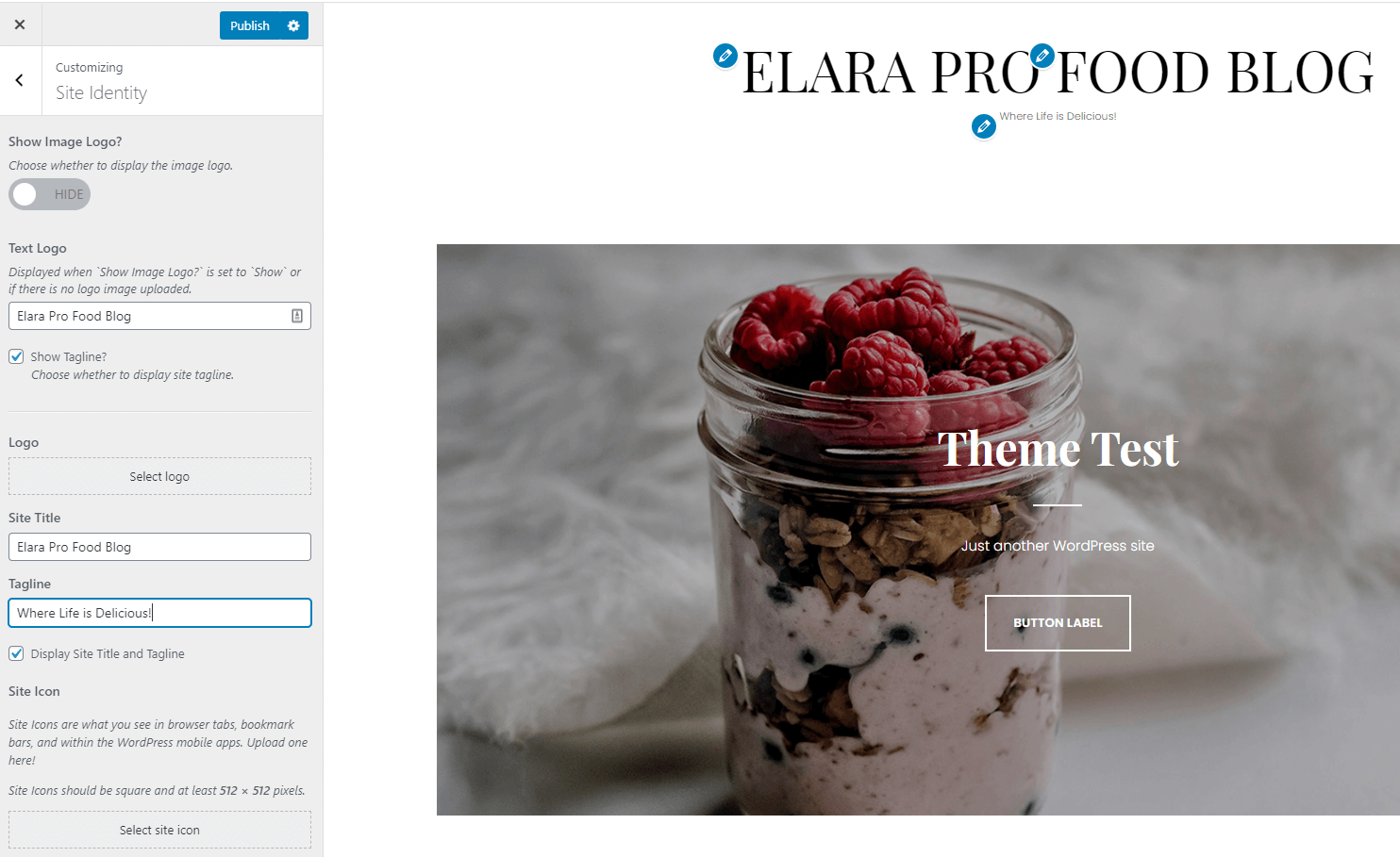 Editing the site title and tagline for Elara Pro in the WordPress Customizer.