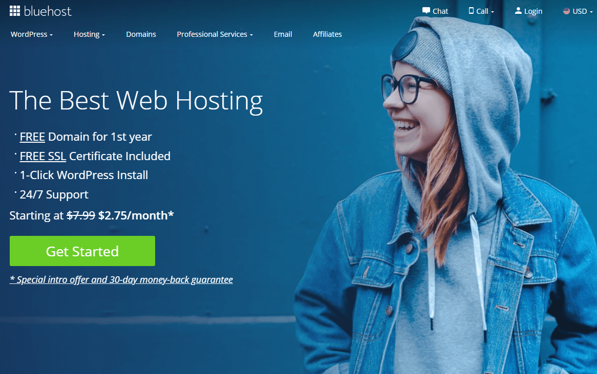 The Bluehost web hosting home page.