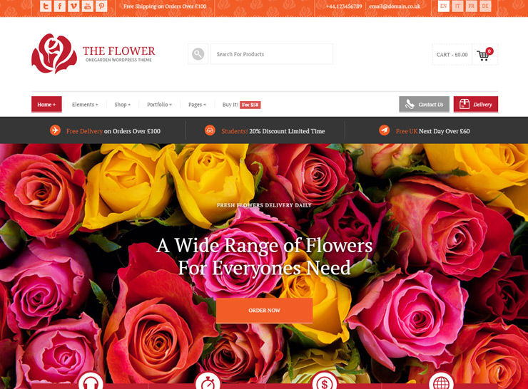 123 Garden - Flower Shop WordPress Theme