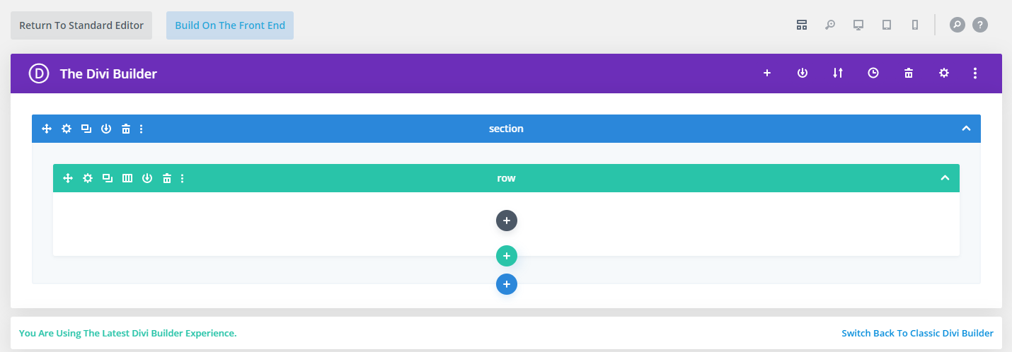 Divi's wireframe view.