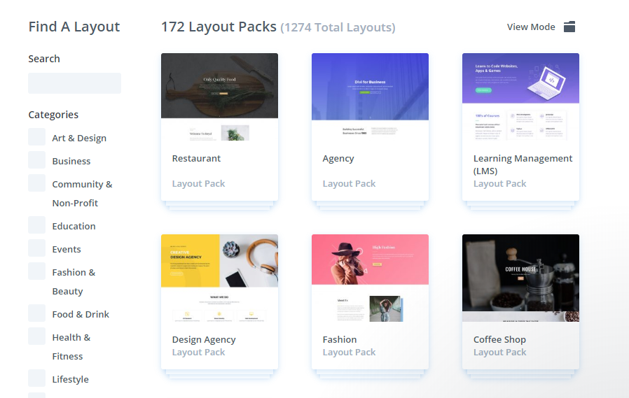 Some of Divi's available layouts.