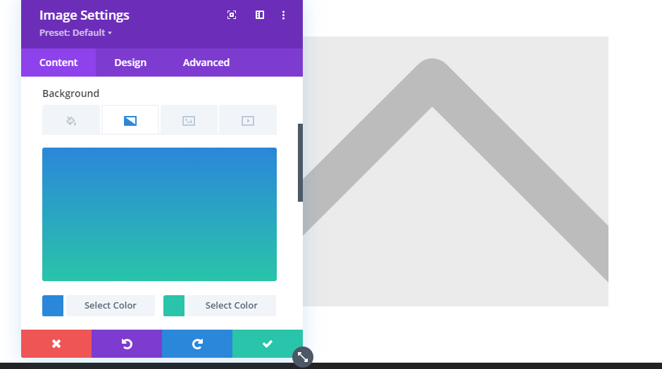 Setting a gradient background for Divi's image module.