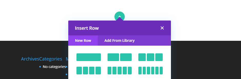 Adding a row using the Divi visual builder.