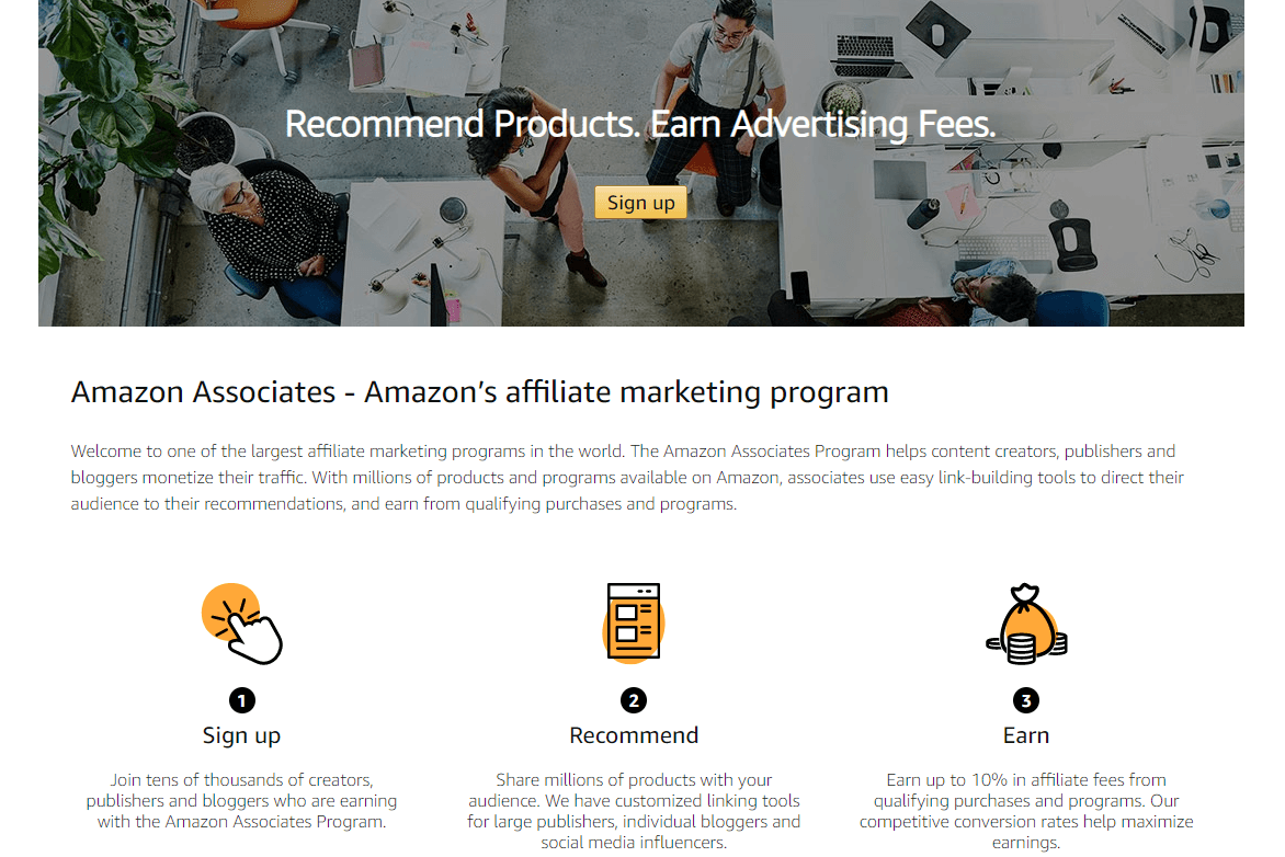The Amazon Associates home page.