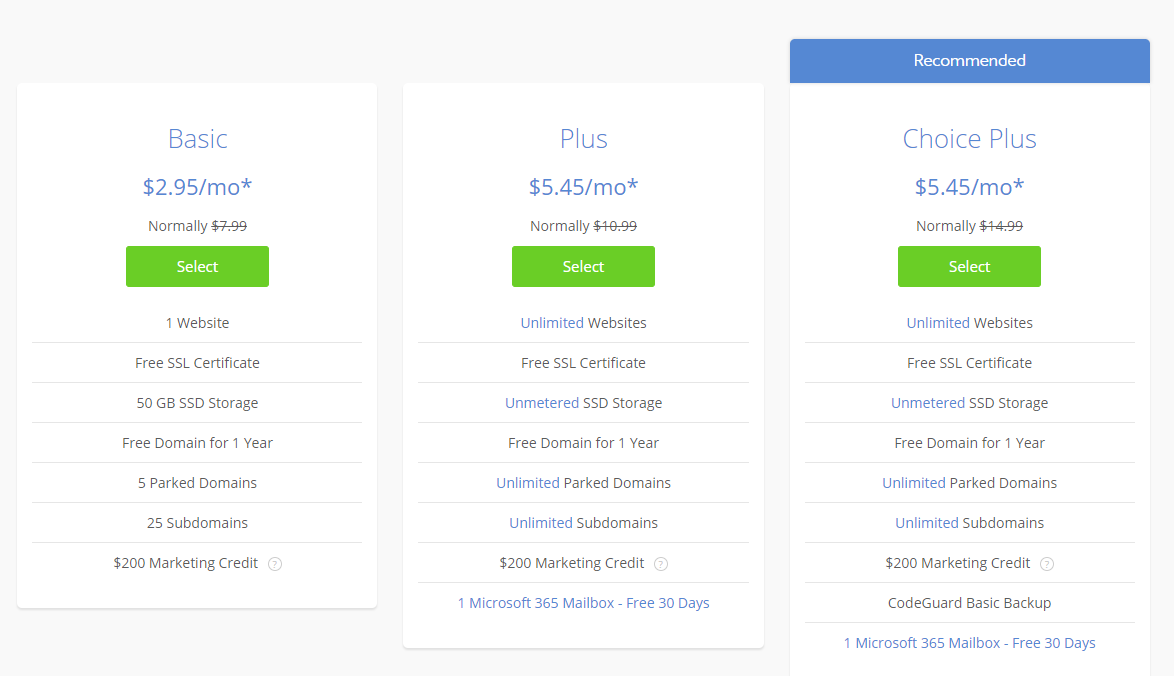 Bluehost's shared plans.