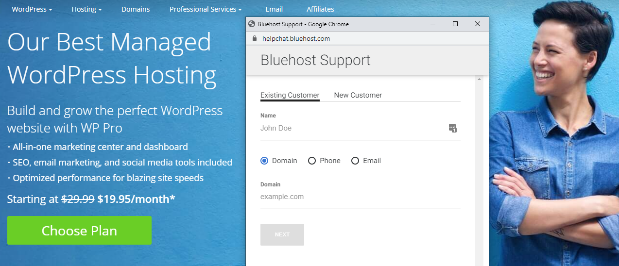 Bluehost hosting's support options.