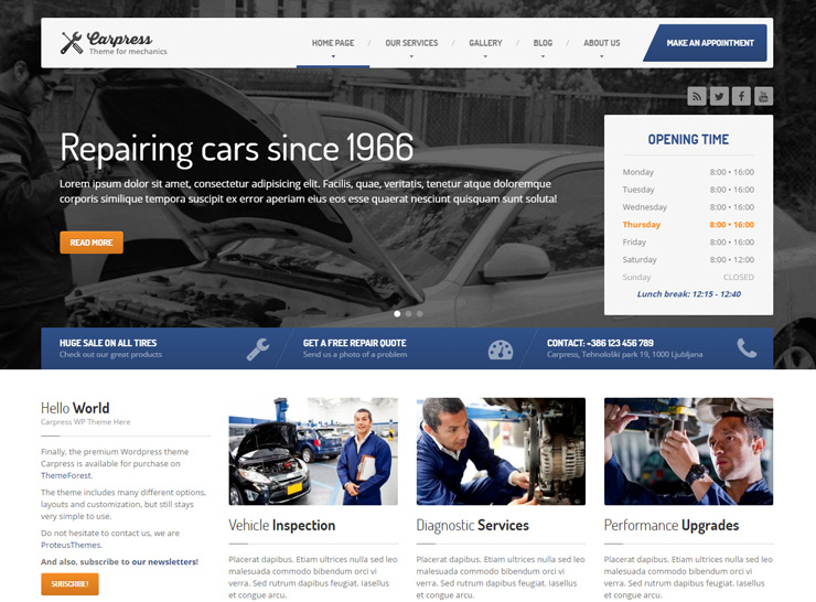 15+ Auto Service, Car Repair and Car Mechanic WordPress Themes 2017