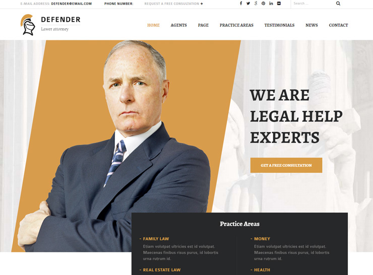 Defender - Lawyer WordPress Theme