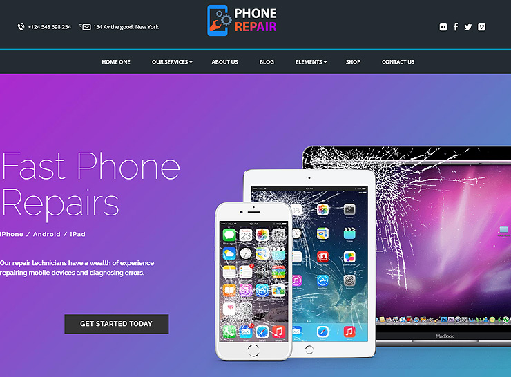 phone repair shop WordPress themes
