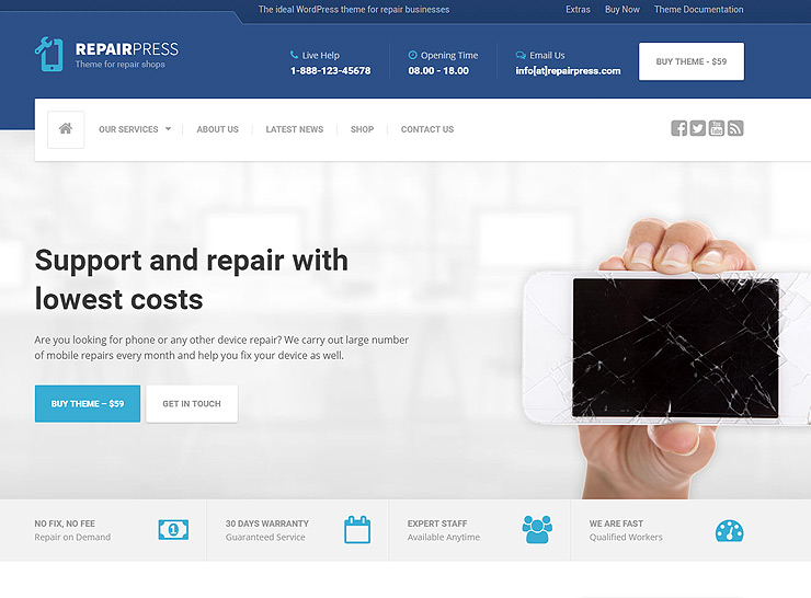 Best Computer And Phone Repair Shop Themes For Wordpress 2017